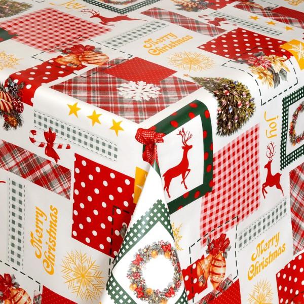 Tischdecke Abwaschbar Wachstuch Weihnachten mit Hirschen Wunschmaß
