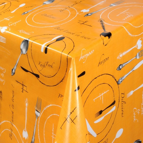 Tischdecke Abwaschbar Wachstuch Lunch Motiv Orange im Wunschmaß