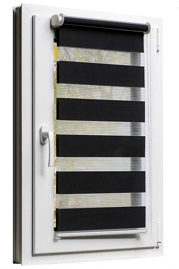 Sehr Fensterrollo mit Kettenzug und Klemmfix ohne bohren in Schwarz AC96