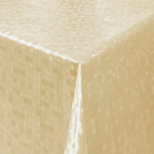 Tischdecke Abwaschbar Wachstuch Relief Quadrate Beige im Wunschmaß