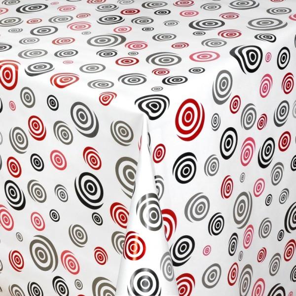 Tischdecke Abwaschbar Wachstuch Spiral Kreise Motiv Rot Schwarz im Wunschmaß