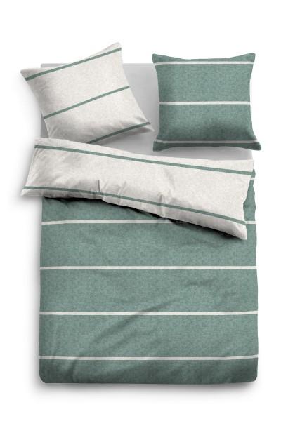 Bettwäsche Tom Tailor Melange-Flanell mit Streifen in Grün
