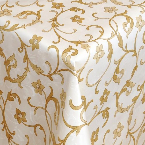 Tischdecke Abwaschbar Wachstuch Relief Ranken Motiv Creme im Wunschmaß
