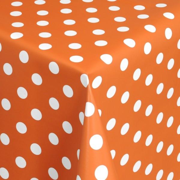 Tischdecke Abwaschbar Wachstuch Punkte Orange Weiss im Wunschmaß