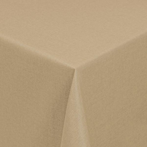 Tischdecken Damast Eckig mit Saum Leinen-Optik Sand-Braun