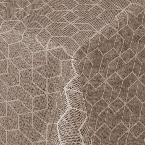 Tischdecken Jacquard-Gewebe mit Fleckschutz und Saum Lorca in Taupe