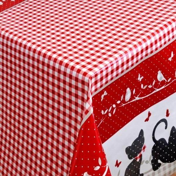 Tischdecke Abwaschbar Wachstuch Katzen und Vögel Grau im Wunschmaß