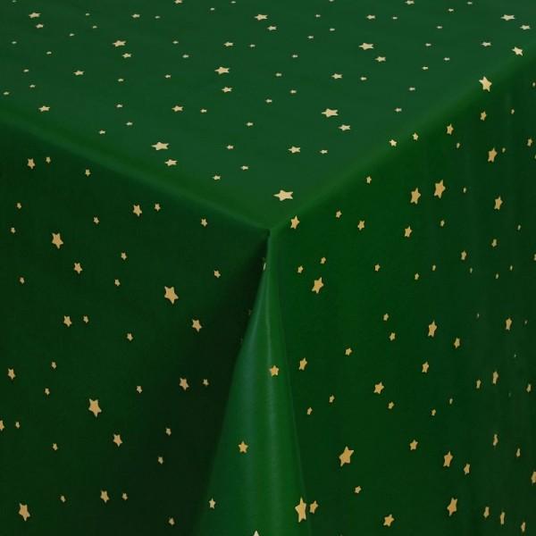 Tischdecke Abwaschbar Wachstuch Stilisierte Sterne Gold Grün im Wunschmaß