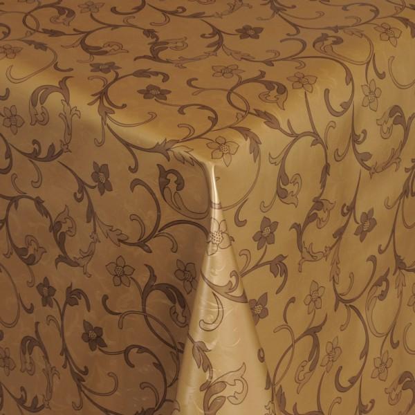 Tischdecke Abwaschbar Wachstuch Relief Ranken Motiv Gold im Wunschmaß