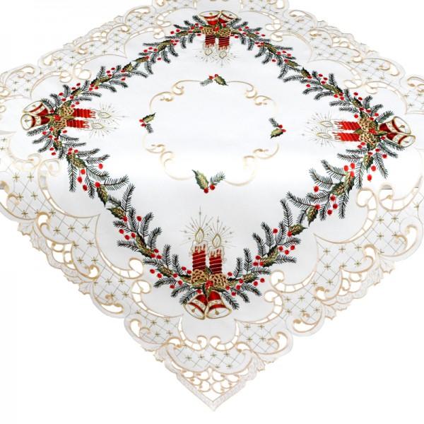 Tischdecke Mitteldecke Aufleger mit Stickerei in Beige