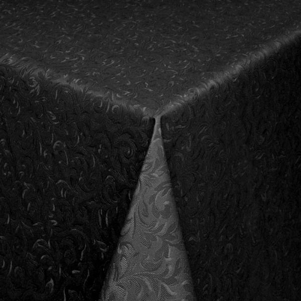 Tischdecke Abwaschbar Wachstuch Relief Ornamente Schwarz im Wunschmaß