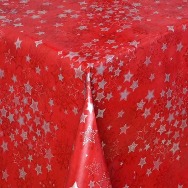 Tischdecke Wachstuch Weihnachten Lebensmittelecht Sterne Rot Silber