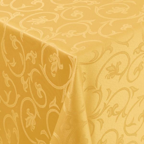 Tischdecken Damast Eckig mit Saum Barock Dunkel-Gelb