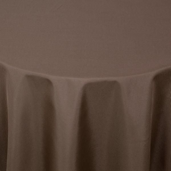 Tischdecken Damast Oval mit Saum Uni Dunkel-Braun