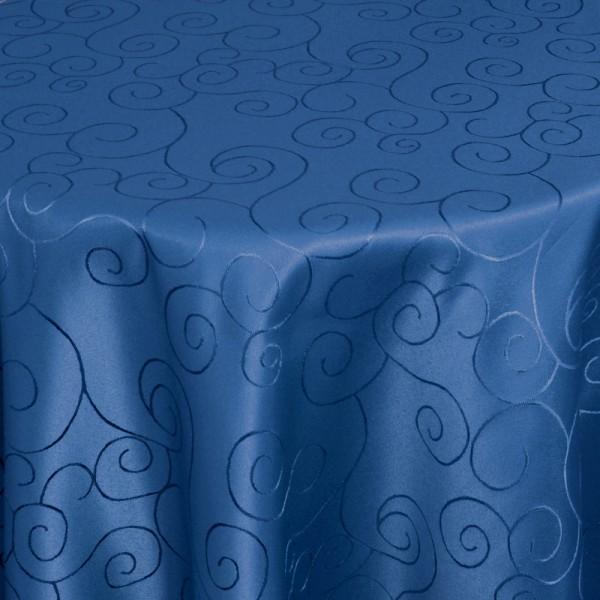 Tischdecken Damast Rund mit Saum Ornamente Dunkel-Blau