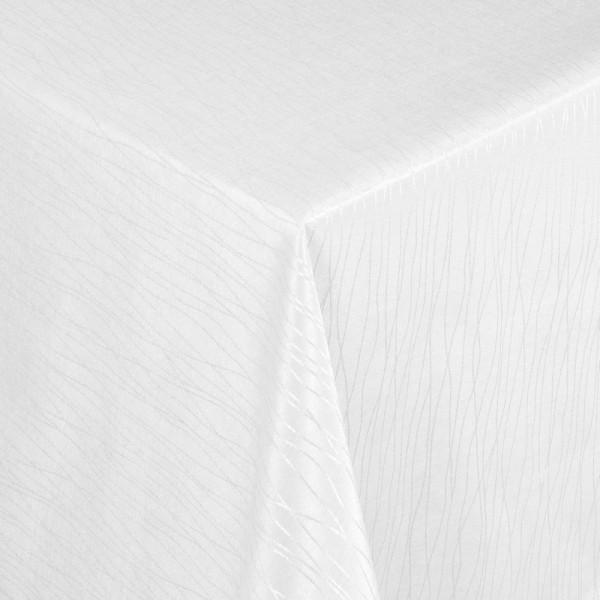 Tischdecken Jacquard-Gewebe mit Fleckschutz und Saum Florenz in Weiss
