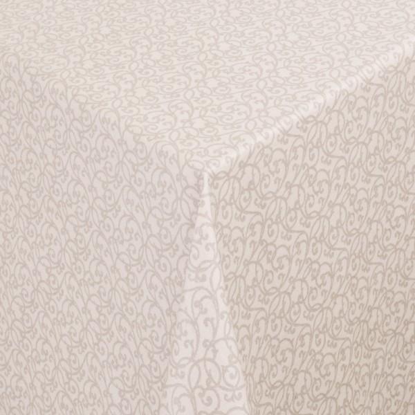 Tischdecken Pesaro 100% Baumwolle Ranken in Beige-Braun mit Fleckschutz