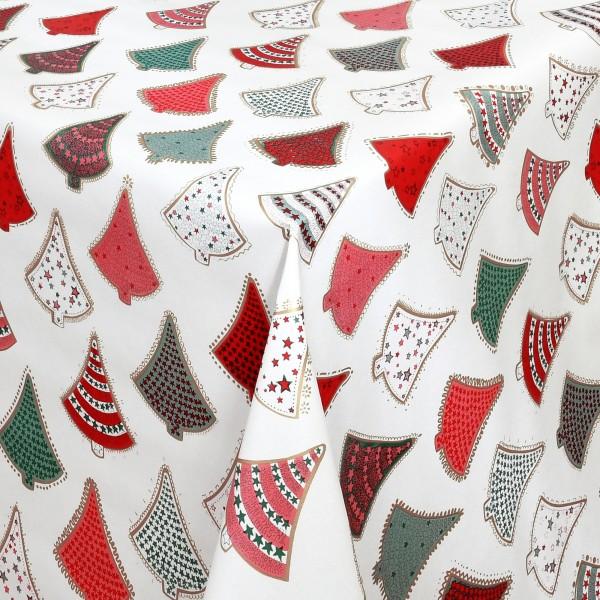 Tischdecke Wachstuch Weihnachten Lebensmittelecht bunte Tannenbäume