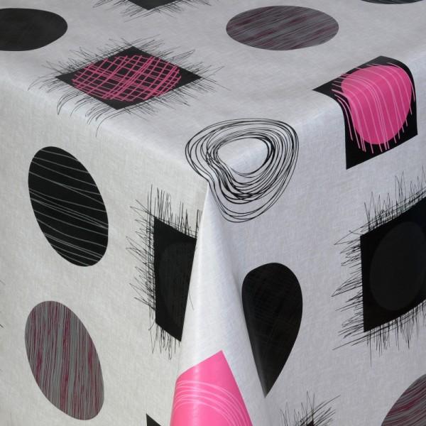 Tischdecke Abwaschbar Wachstuch Kreise und Quadrate Rosa im Wunschmaß