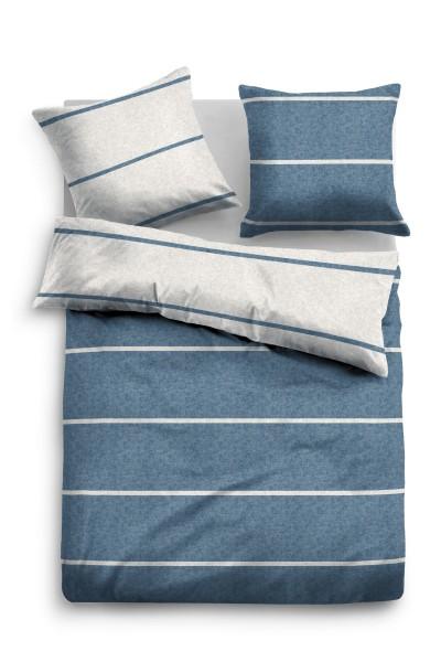 Bettwäsche Tom Tailor Melange-Flanell mit Streifen in Blau