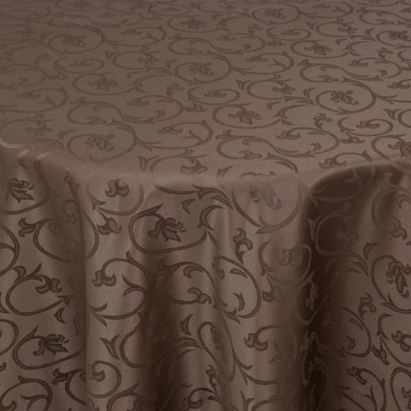 Tischdecken Damast Rund mit Saum Barock Dunkel-Braun