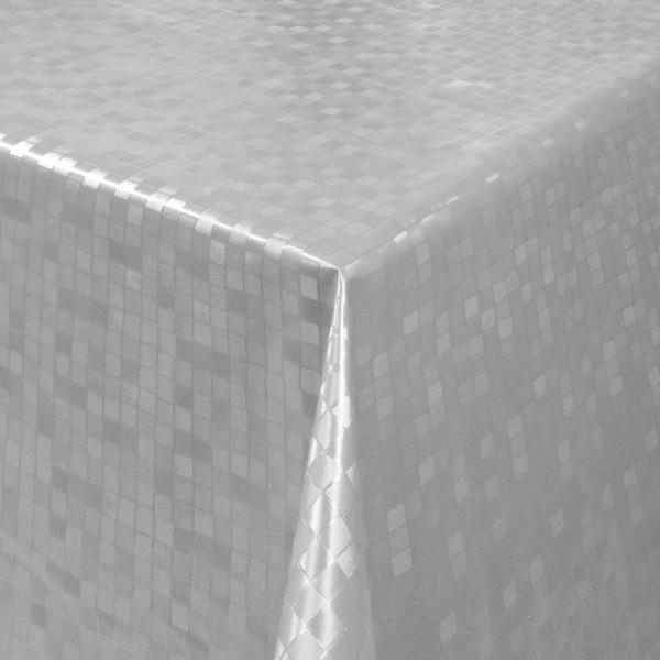 Tischdecke Abwaschbar Wachstuch Relief Quadrate Grau im Wunschmaß