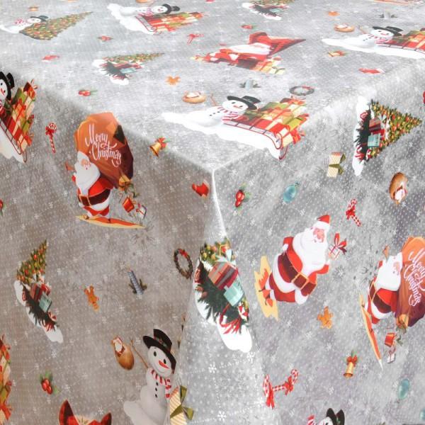 Tischdecke Abwaschbar Wachstuch Weihnachten Schneemann Motiv Silber