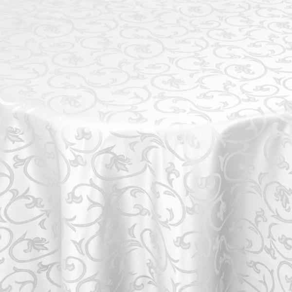 Tischdecken Damast Oval mit Saum Barock Weiss