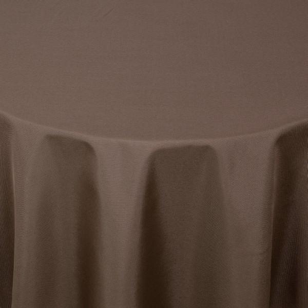 Tischdecken Damast Rund mit Saum Uni Dunkel-Braun