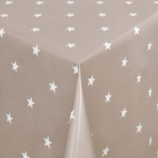 Tischdecke Abwaschbar Wachstuch Weihnachten mit Sternen Beige-Weiss