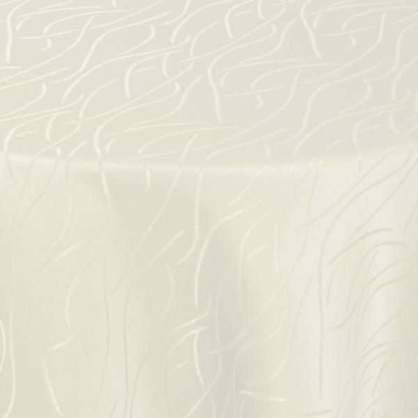 Tischdecken Damast Rund mit Saum Streifen Creme-Champagner