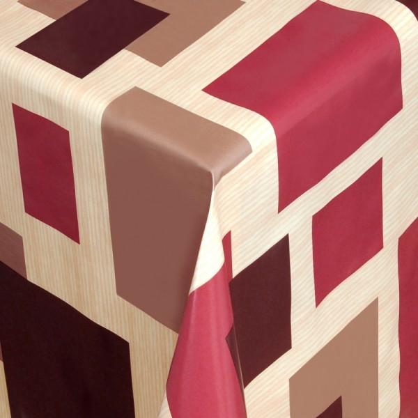 Tischdecke Abwaschbar Wachstuch Vierecke Rot Beige im Wunschmaß