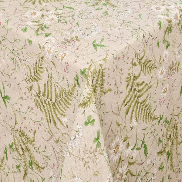 Tischdecken Treviso Baumwolle Kamillenblüten mit Fleckschutz in Beige