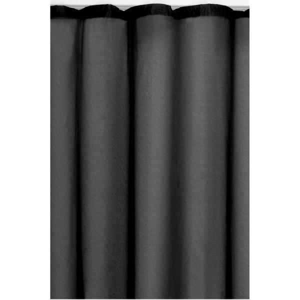 Vorhang Gardine Transparent Dekoschal mit Kräuselband in Schwarz