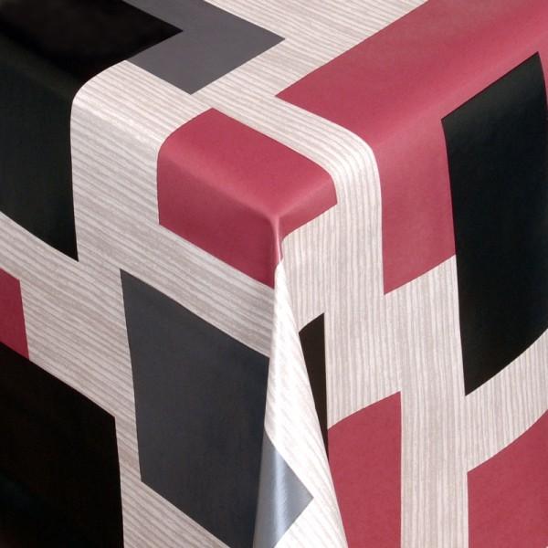 Tischdecke Abwaschbar Wachstuch Vierecke Grau Rot im Wunschmaß