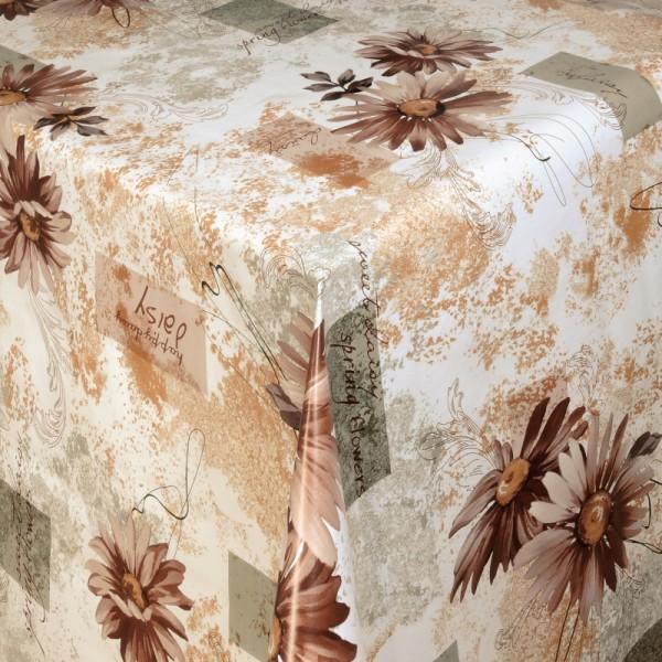 Tischdecke Abwaschbar Wachstuch Blumen Motiv Braun Weiss im Wunschmaß