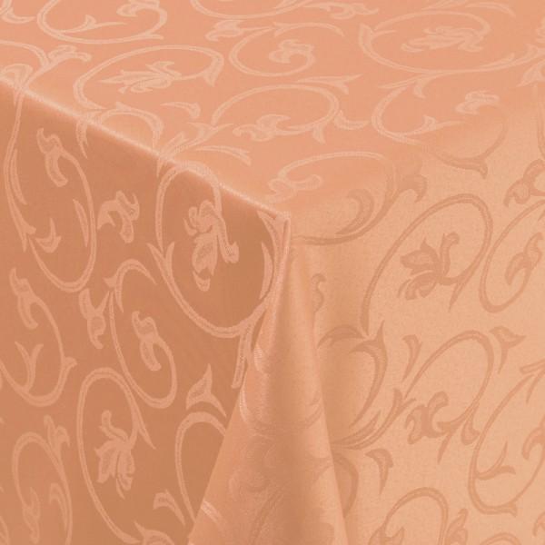 Tischdecken Damast Eckig mit Saum Barock Apricot