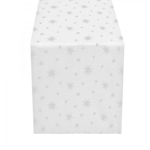 Tischläufer Lurex Sterne 40x150 cm Silber-Weiss