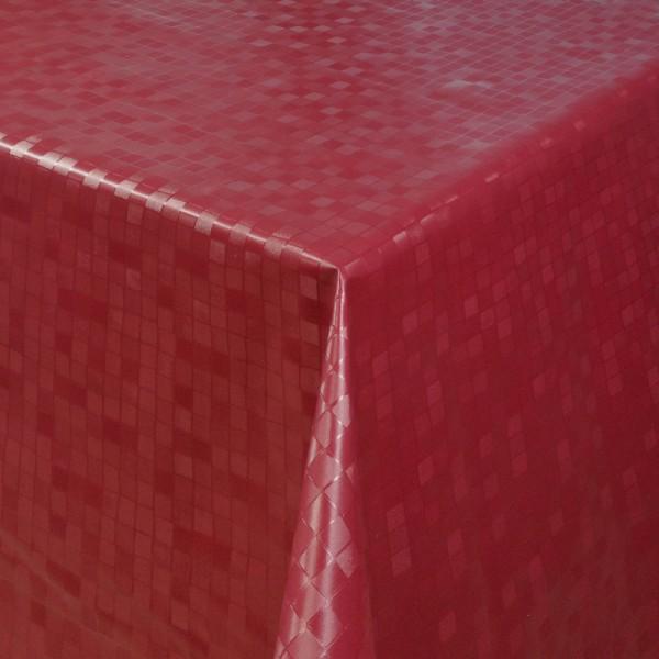Tischdecke Abwaschbar Wachstuch Relief Quadrate Rot im Wunschmaß