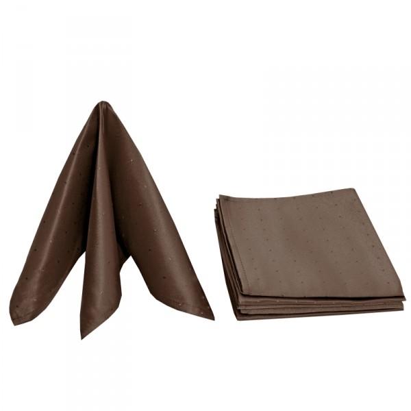 Servietten Damast Punkte 50x50 Dunkel-Braun (6er Pack)