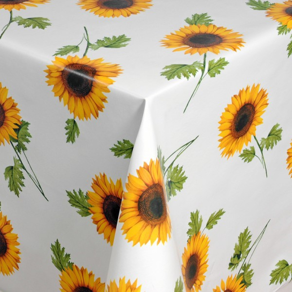 Tischdecke Abwaschbar Wachstuch Sonnenblumen Motiv Weiss im Wunschmaß