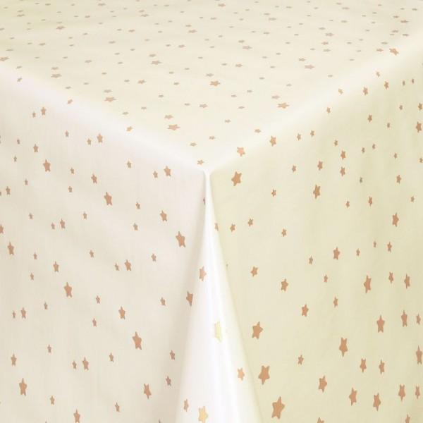 Tischdecke Abwaschbar Wachstuch Stilisierte Sterne Gold Weiss im Wunschmaß