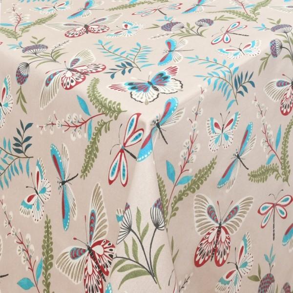 Tischdecken Legnano mit Libellen Motiv und Fleckschutz in Beige