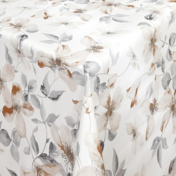 Tischdecke Wachstuch Lebensmittelecht Lilien Motiv in Weiss