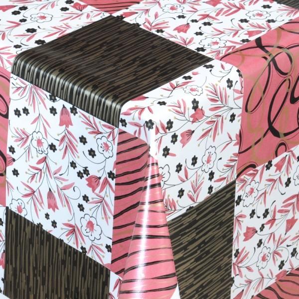 Tischdecke Abwaschbar Wachstuch Quadrate Rot Schwarz im Wunschmaß
