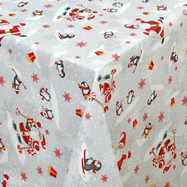 Weihnachtstischdecke aus Baumwolle mit Pinguinen und Fleckschutz in Grau