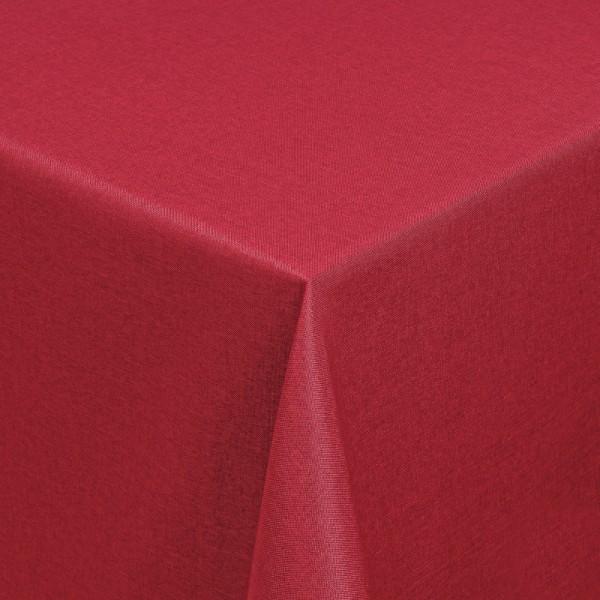 Tischdecken Damast Eckig mit Saum Leinen-Optik Wein-Rot