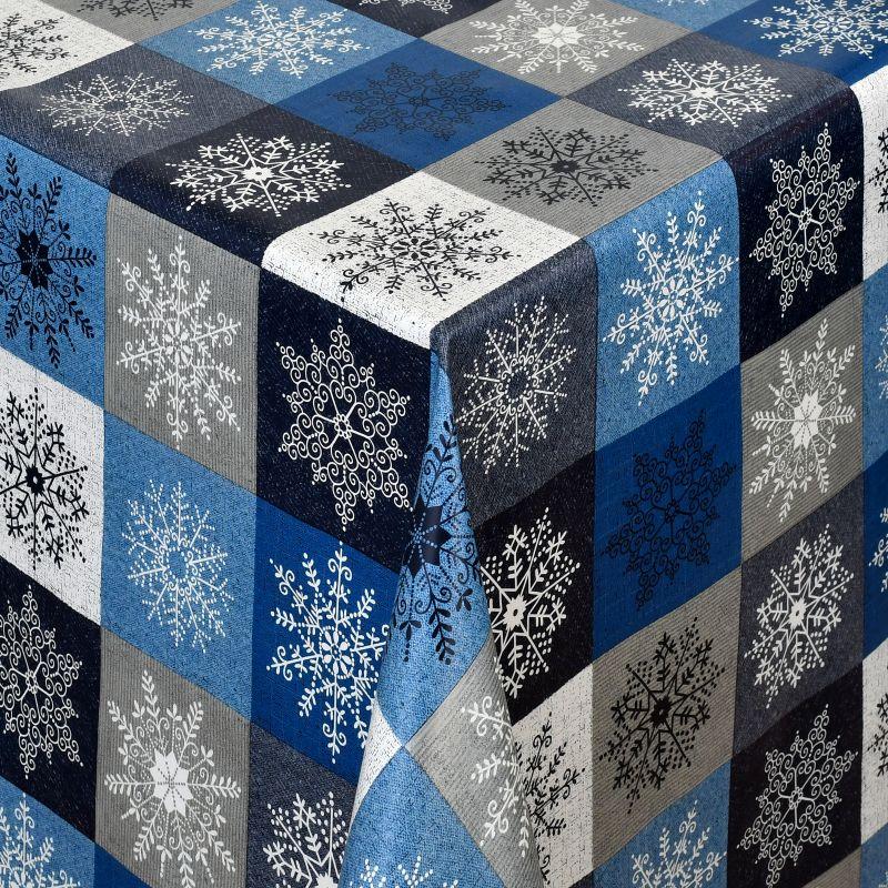 tischdecke abwaschbar wachstuch weihnachten schneekristalle blau grau. Black Bedroom Furniture Sets. Home Design Ideas