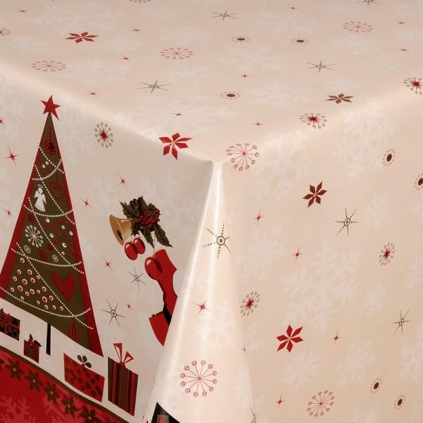 Tischdecke Abwaschbar Wachstuch Weihnachten Nikolaus Creme Wunschmaß