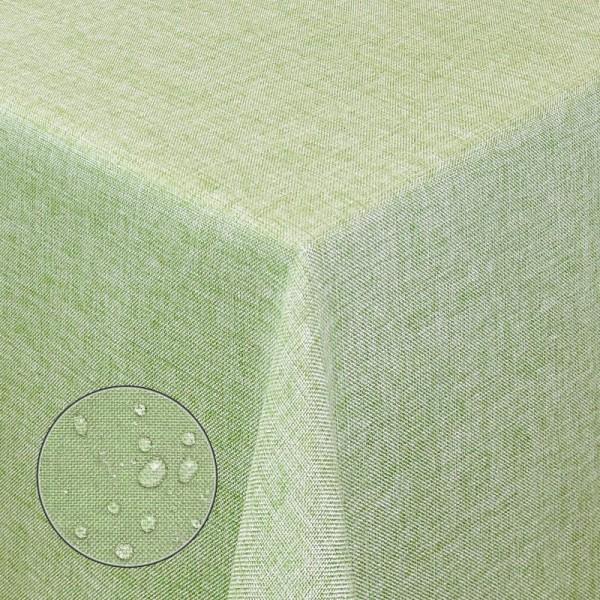 Tischdecken Damast Eckig Leinen Meliert wasserabweisend Lind-Grün